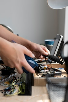 Woman working in her workshop for a creative invention