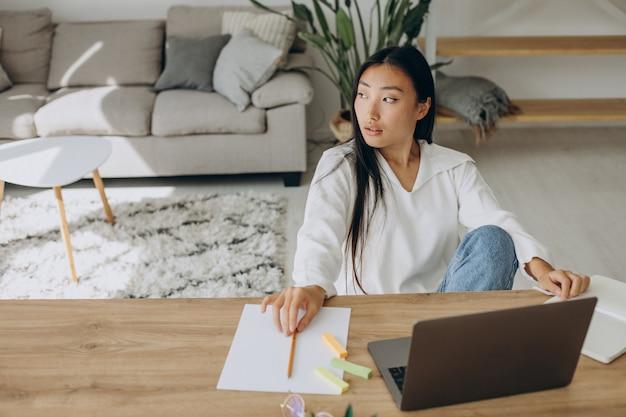 Женщина, работающая на компьютере за столом из дома