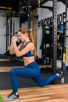 Woman working out in the gym