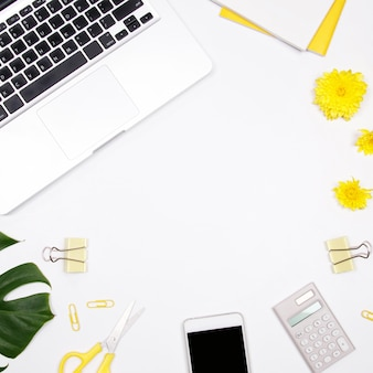 Woman workspace on white background.