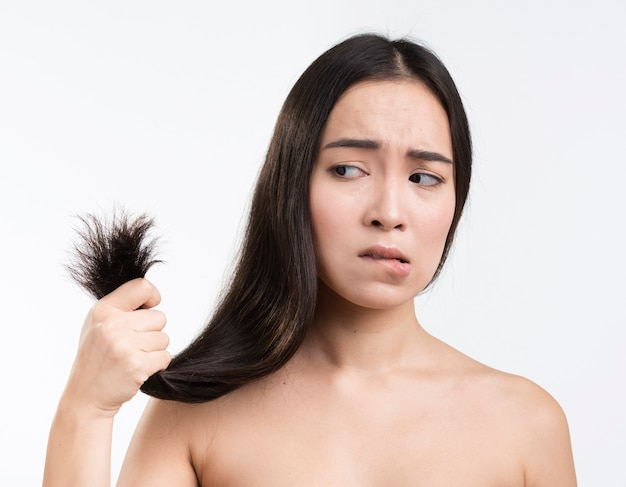 Woman worried for her hair