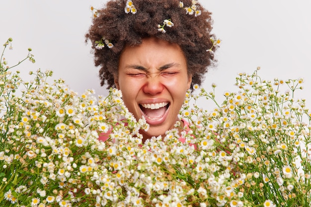 女性は大声で叫び、口を開けたまま目を閉じたままカモミールアレルギーのために皮膚が赤くなり、白く孤立した鼻炎に苦しんでいる