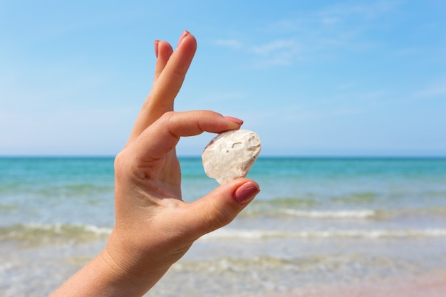 Womana´s hand holding a seashell on the beach.
