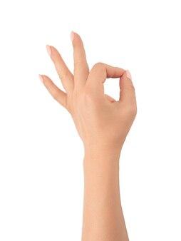 女性は白い背景にokサインを手渡します。ジェスチャー大丈夫すべてがokです。孤立した白。白い背景にokジェスチャーを示す女性の手