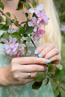 여자의 손을 잡고 섬세한 핑크 꽃 봄 과수원으로 피는 사과 나무 가지를 닫습니다