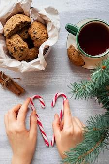 Женские руки с двумя конфетами, шоколадным печеньем и еловой веткой