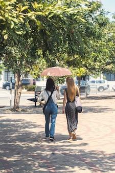 Womans stroll under an umbrella
