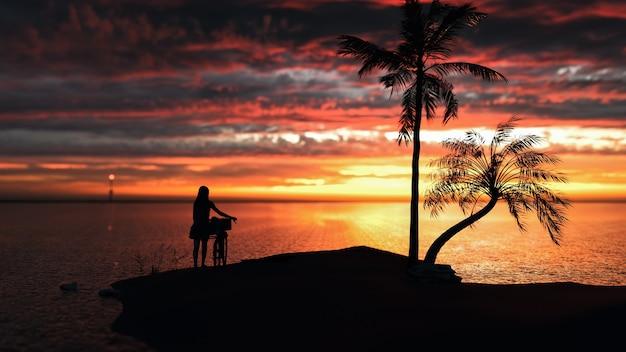 Женщины и велосипеды стоя на пляже на закате. 3d визуализации и иллюстрации.