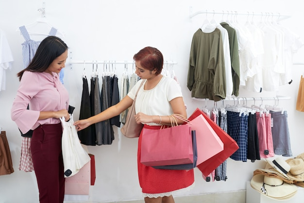 Women choosing clothes
