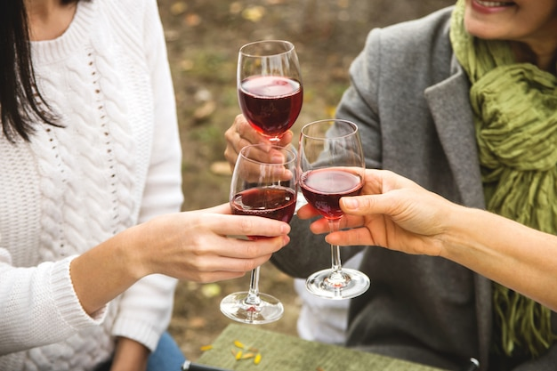 Women clink glasses with wine at autumn family dinner.