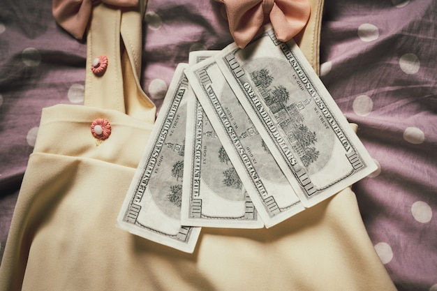 Women clothes that were paired with dollar currency banknotes.
