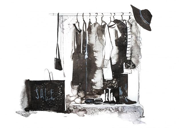 Женская одежда на вешалке акварельные иллюстрации