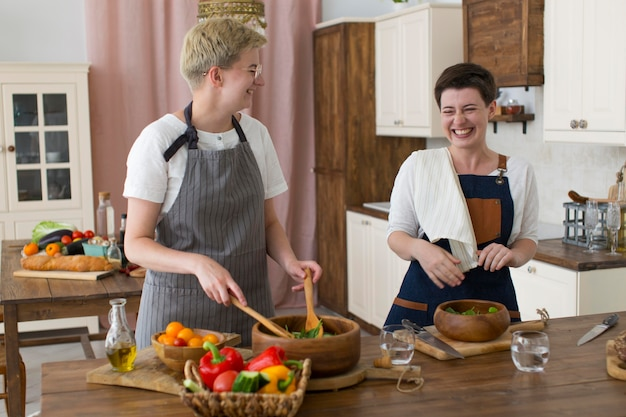 Women cooking together at home