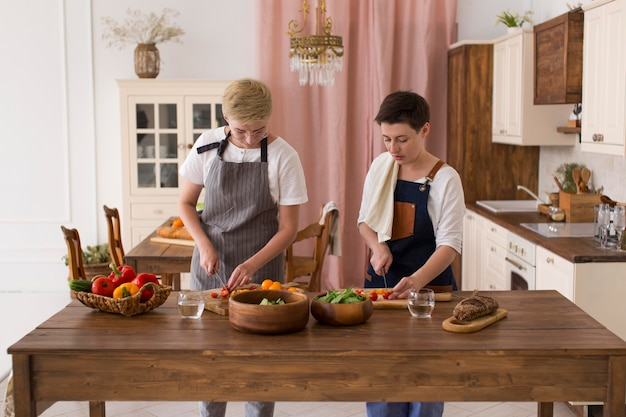 Women cooking with different ingredients