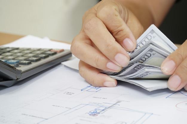 ドル紙幣、財政および口座を数える女性。