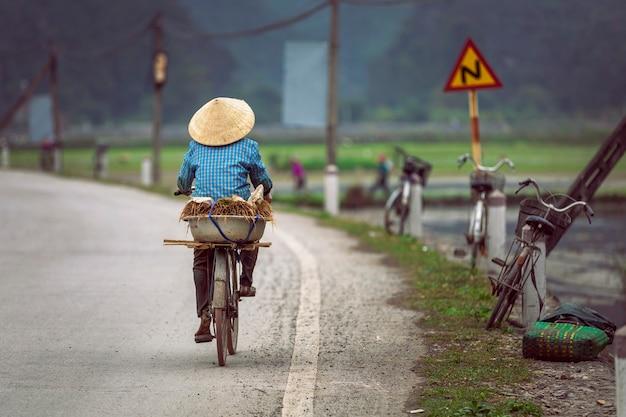 Женщины на велосипеде рядом с рисовыми полями во вьетнаме