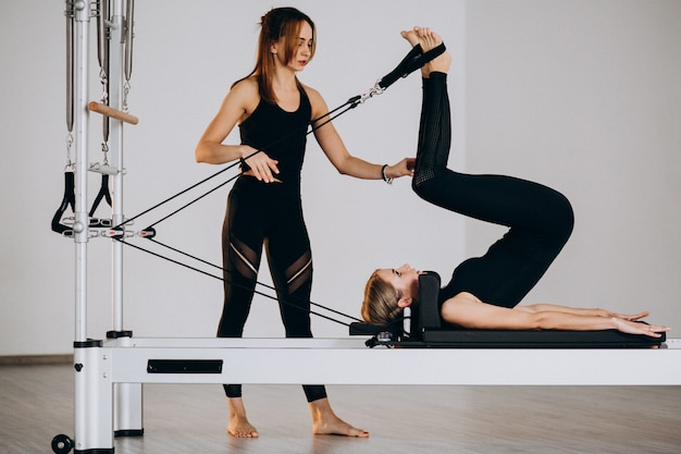 Women doing pilates on a reformer