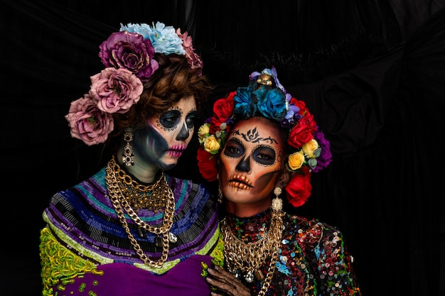 Women dressed as catrina