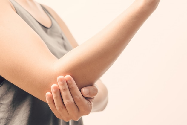 Women elbow pain injury, healthcare and medical concept