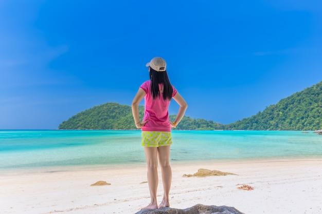 Women enjoy the fresh air and clear water at similan island ,andaman sea , phuket, thailand
