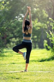 Women exercising at outdoors