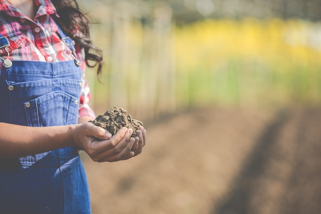 Women farmers are researching the soil.