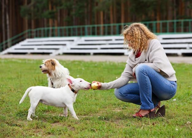 Женщины кормят собаку яблоком на открытом воздухе