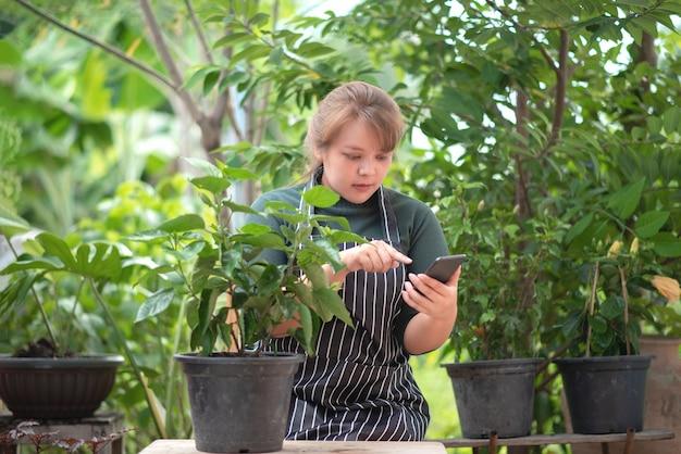 Женщины-садовники продают деревья в социальных сетях. интернет-магазины и концепция продажи.