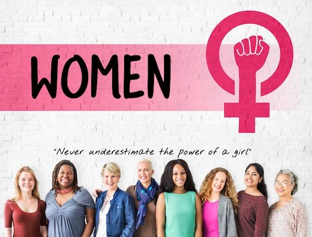 여성 걸 파워 페미니즘 평등 기회 개념