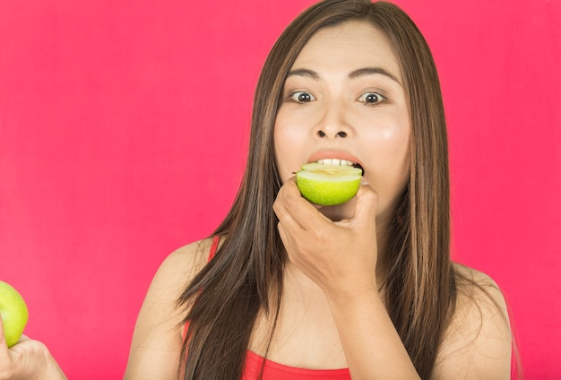 Women and green apple