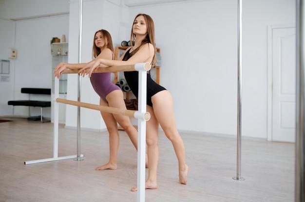 폴 댄스 훈련에 여성 체육 교사, 클래스에서 춤. 체육관에서 운동하는 전문 여성 댄서, 폴 댄스