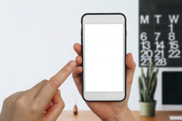 Women hand holding mobile smartphone empty touch screen on white background.