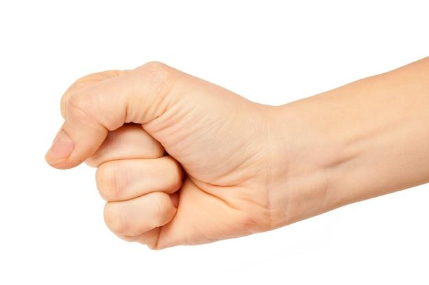 여자는 흰색 배경에 손