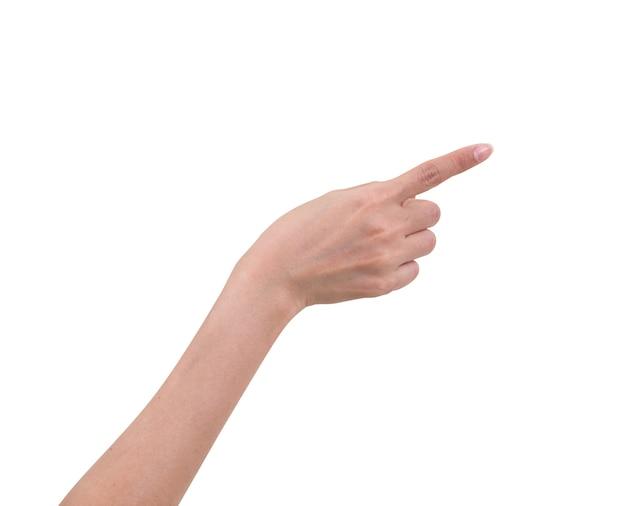 Женщины рука указывая изолированные на белом фоне, обтравочный контур