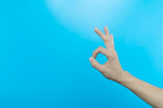 Women hand show ok gesture