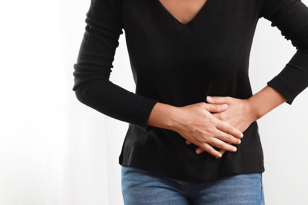 Women have abdominal pain because of gastritis or menstruation and digestive system that are a sign of stomach problems, cervical cancer. and other diseases within the golden chong