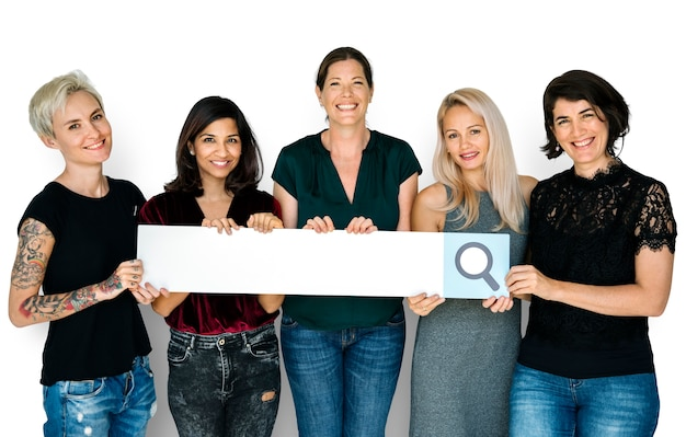 Women hold search box magnifying glass