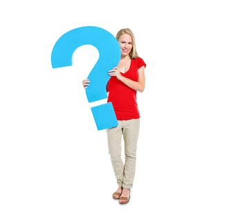 Women Holding Question Mark Symbol