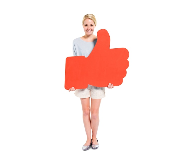 Women holding thumbs up symbol