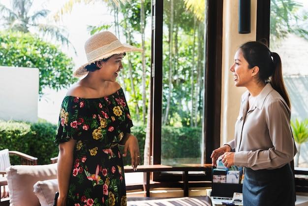 Women at a hotel lobby
