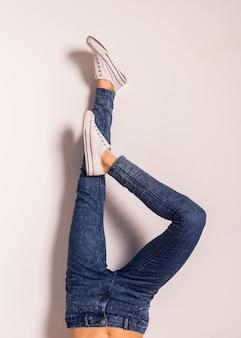 Women jeans legs demonstration