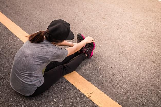 Women jogging for health, concept health love.