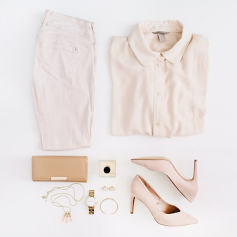 Women modern fashion clothes and accessories. top view.