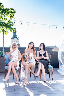 Women in a party with champagne