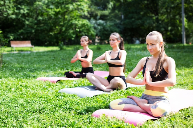 Women practicing yoga in the park.