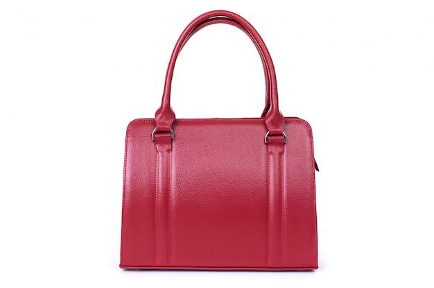 흰색 배경에 고립 된 여자 빨간 가죽 가방