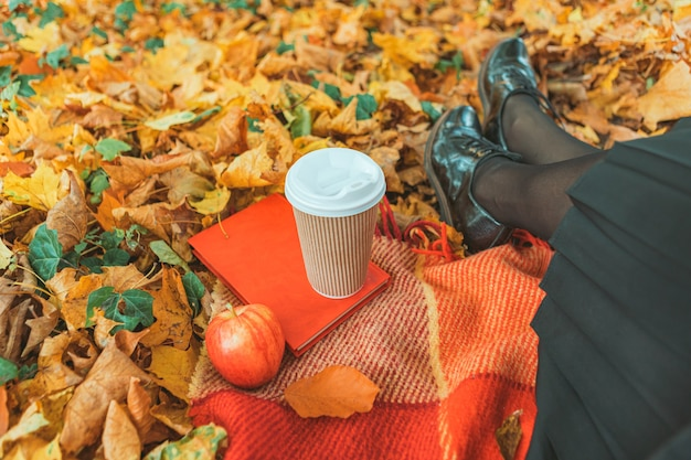 黄色い紅葉で地面の毛布で休んでいる女性。一杯のコーヒー赤いリンゴと本。顔なし