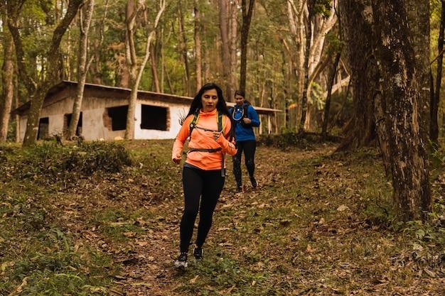 ジャングルで走っている女性。装備を持ったランナーが熱帯雨林を駆け抜けます。スポーツと自然の概念。