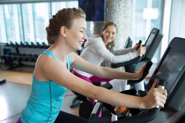 Women running on the treadmill