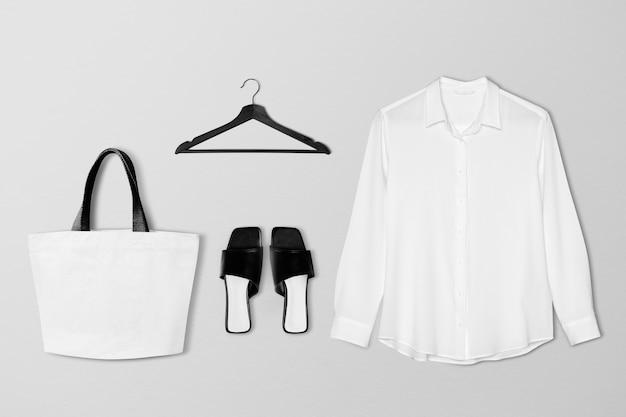 Women's apparel minimal set in white tone